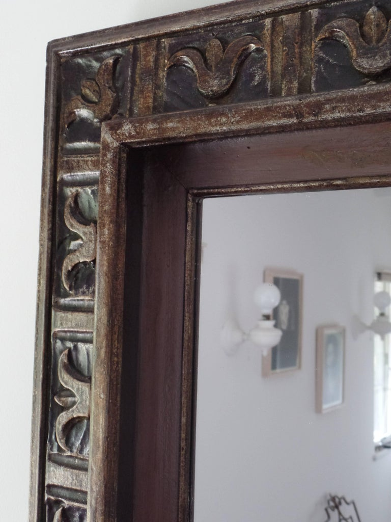 French Hand Carved Silver and Gilt Wood Mid-Century Modern Neoclassical Mirror For Sale 4