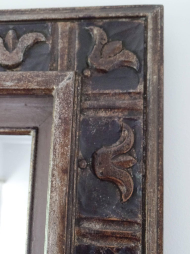 French Hand Carved Silver and Gilt Wood Mid-Century Modern Neoclassical Mirror For Sale 5
