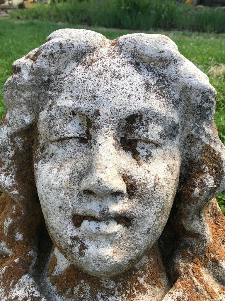 Hand-Carved French Hand Carved Stone Head of the Virgin from the Croix Rouge, Lyon, France For Sale