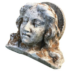 French Hand Carved Stone Head of the Virgin from the Croix Rouge, Lyon, France