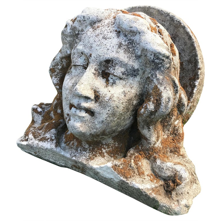 French Hand Carved Stone Head of the Virgin from the Croix Rouge, Lyon, France For Sale