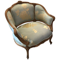 French Hand Carved Walnut Chair with Silk Upholstrey