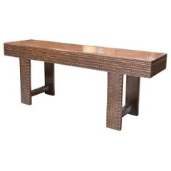 French Hand Carved Walnut Sofa Console Table with End Drawers from the Pyrenees