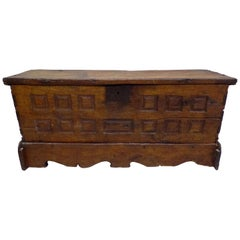 French Hand Carved Wood Directoire Coffre or Chest/ Armoire/ Bench, circa 1795