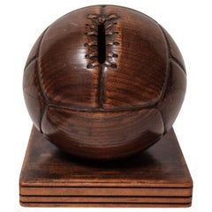 French Hand Carved Wood Soccer Ball Piggy Bank