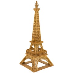 French Hand Carved Wooden Eiffel Tower Model