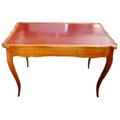 French Hand Crafted Hand Painted Game Table or Desk with 2 Large End Drawers