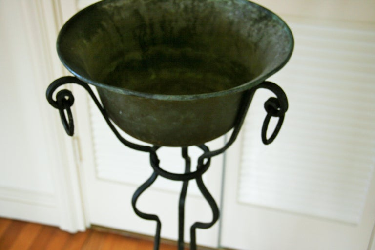 French Hand Forged Iron and Brass Plant Stand/Jardinières For Sale 5