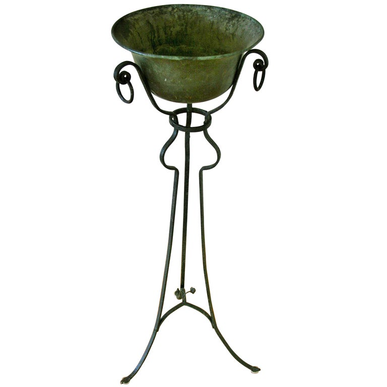 French Hand Forged Iron and Brass Plant Stand/Jardinières For Sale