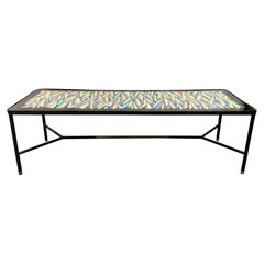 French Hand Painted and Bronze Trimmed Coffee Table