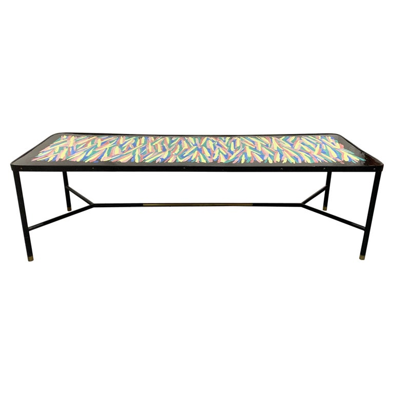 French Hand Painted and Bronze Trimmed Coffee Table For Sale