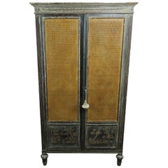 French Hand Painted Armoire with Cane Doors and French Pastoral Scene Decoration