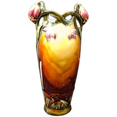 French Hand Painted Art Nouveau Flower Barbotine Vase, circa 1912