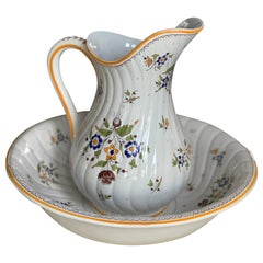 French Hand Painted Ceramic Pitcher and Bowl by Moustiers
