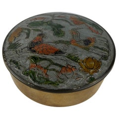 French Hand Painted Enamel and Brass Lidded Trinket or Jewelry Box