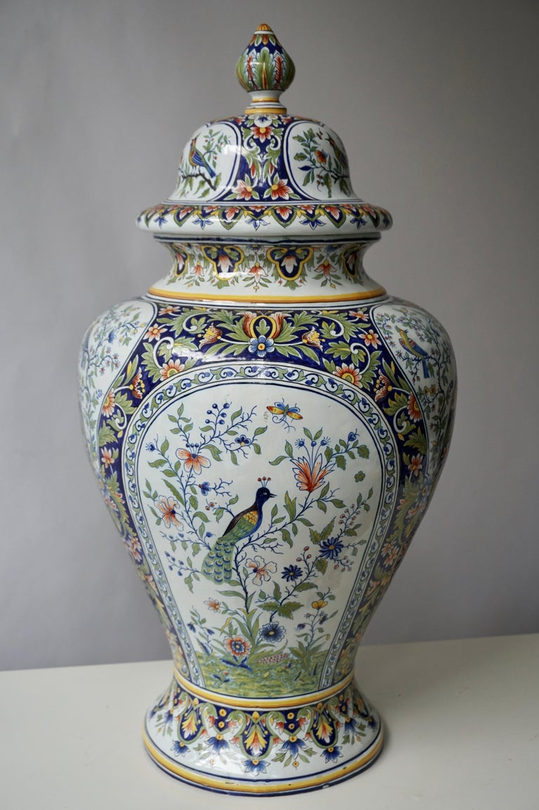 French Hand Painted Faience Urn or Vase with Flowers and Birds Motifs For Sale 3