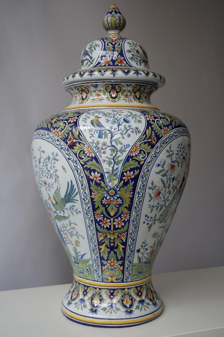 French Hand Painted Faience Urn or Vase with Flowers and Birds Motifs For Sale 5
