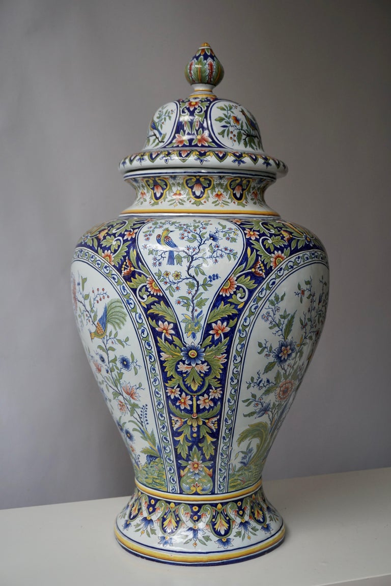 French Hand Painted Faience Urn or Vase with Flowers and Birds Motifs For Sale 6