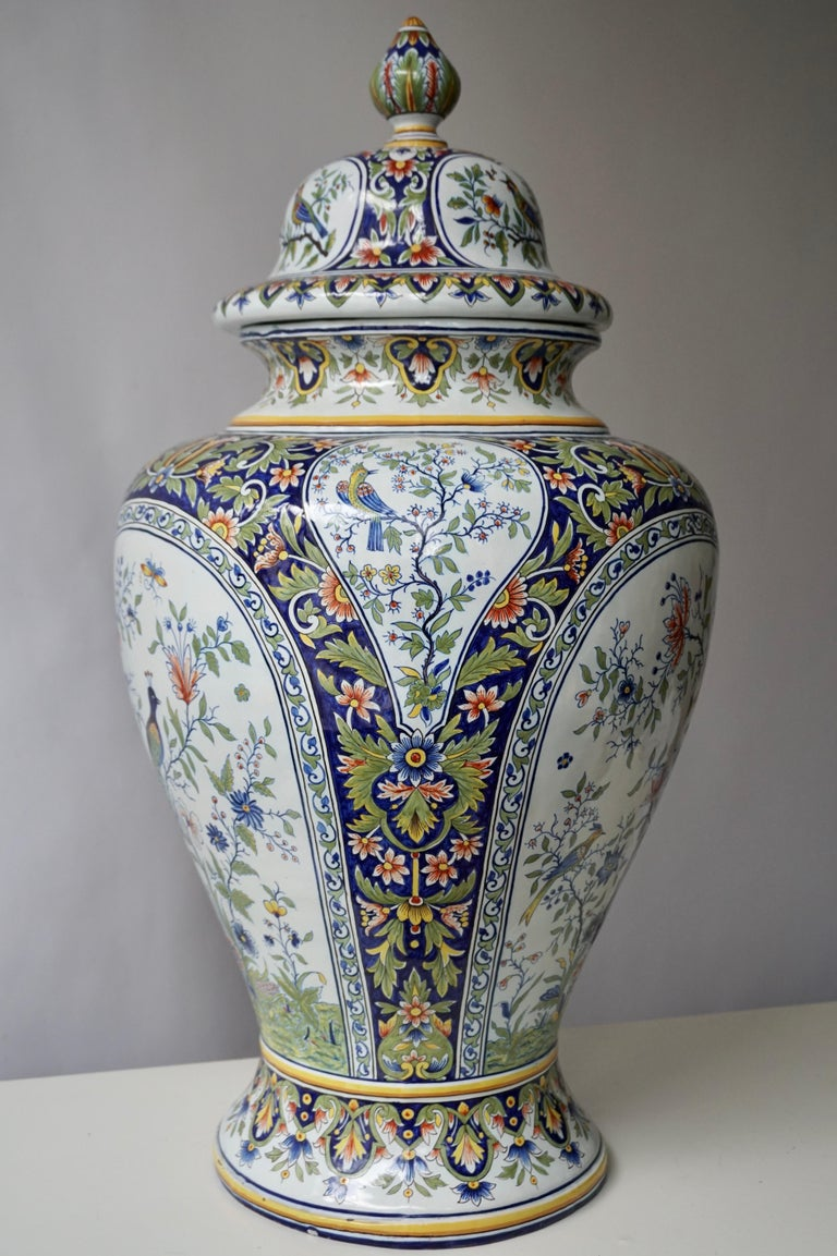French Hand Painted Faience Urn or Vase with Flowers and Birds Motifs For Sale 7