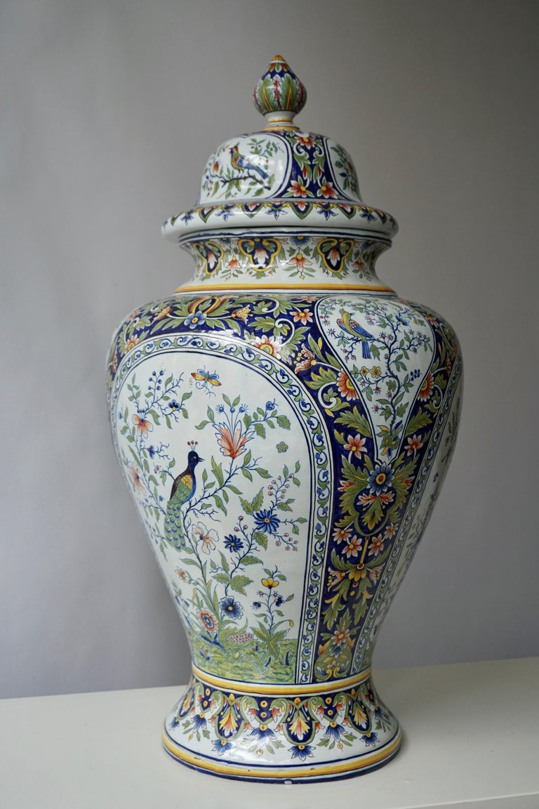 French Hand Painted Faience Urn or Vase with Flowers and Birds Motifs For Sale 8