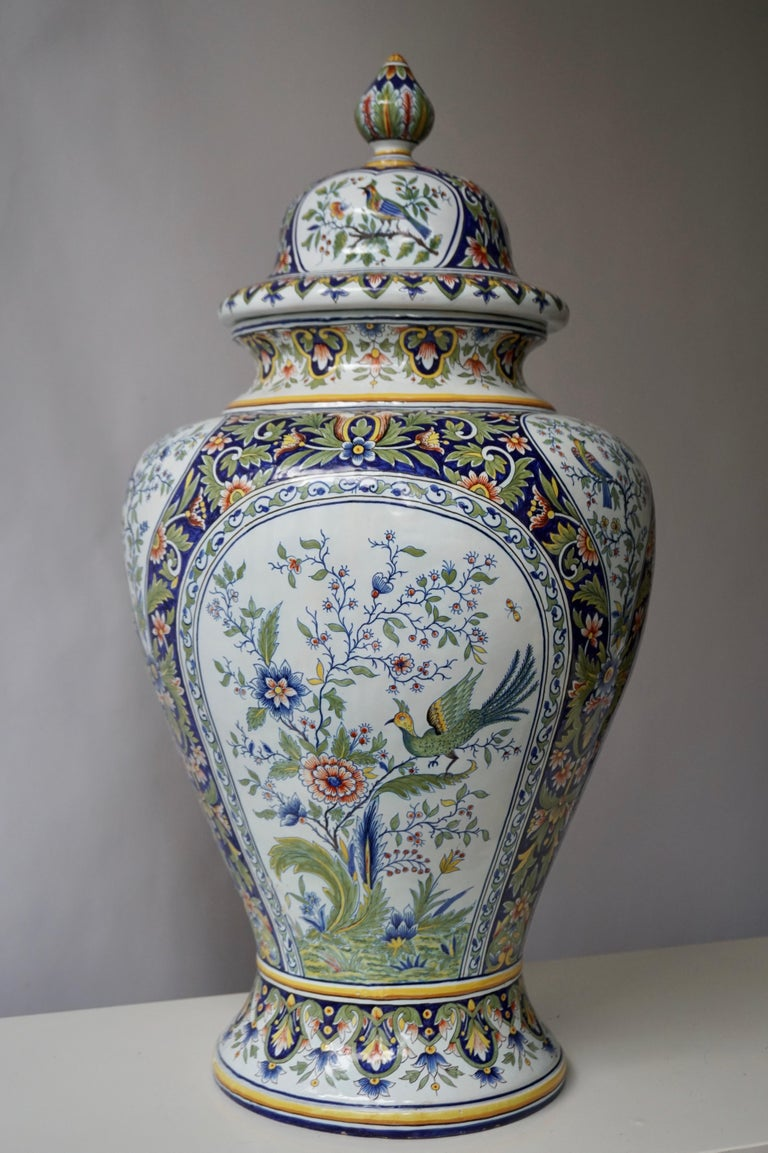 Hollywood Regency French Hand Painted Faience Urn or Vase with Flowers and Birds Motifs For Sale