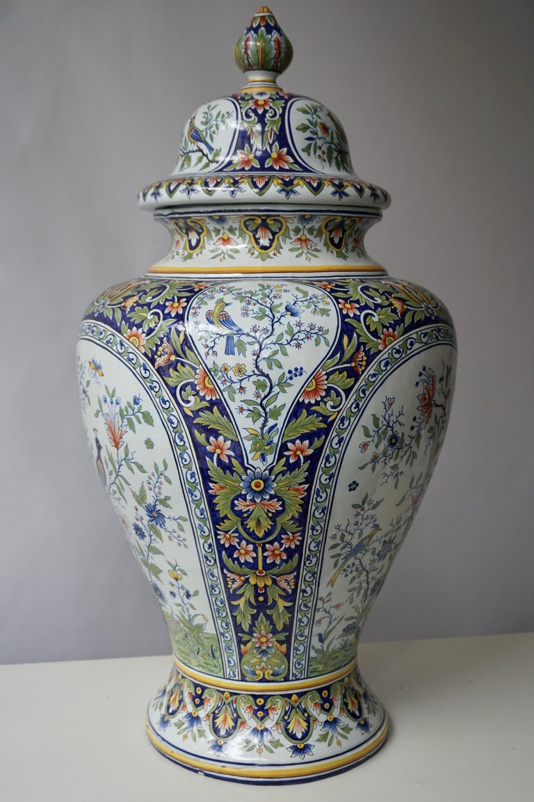 Hand-Painted French Hand Painted Faience Urn or Vase with Flowers and Birds Motifs For Sale