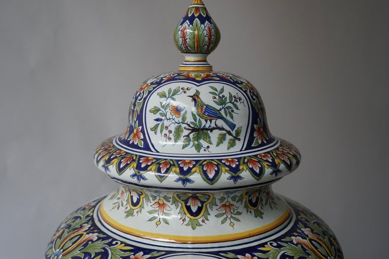 20th Century French Hand Painted Faience Urn or Vase with Flowers and Birds Motifs For Sale