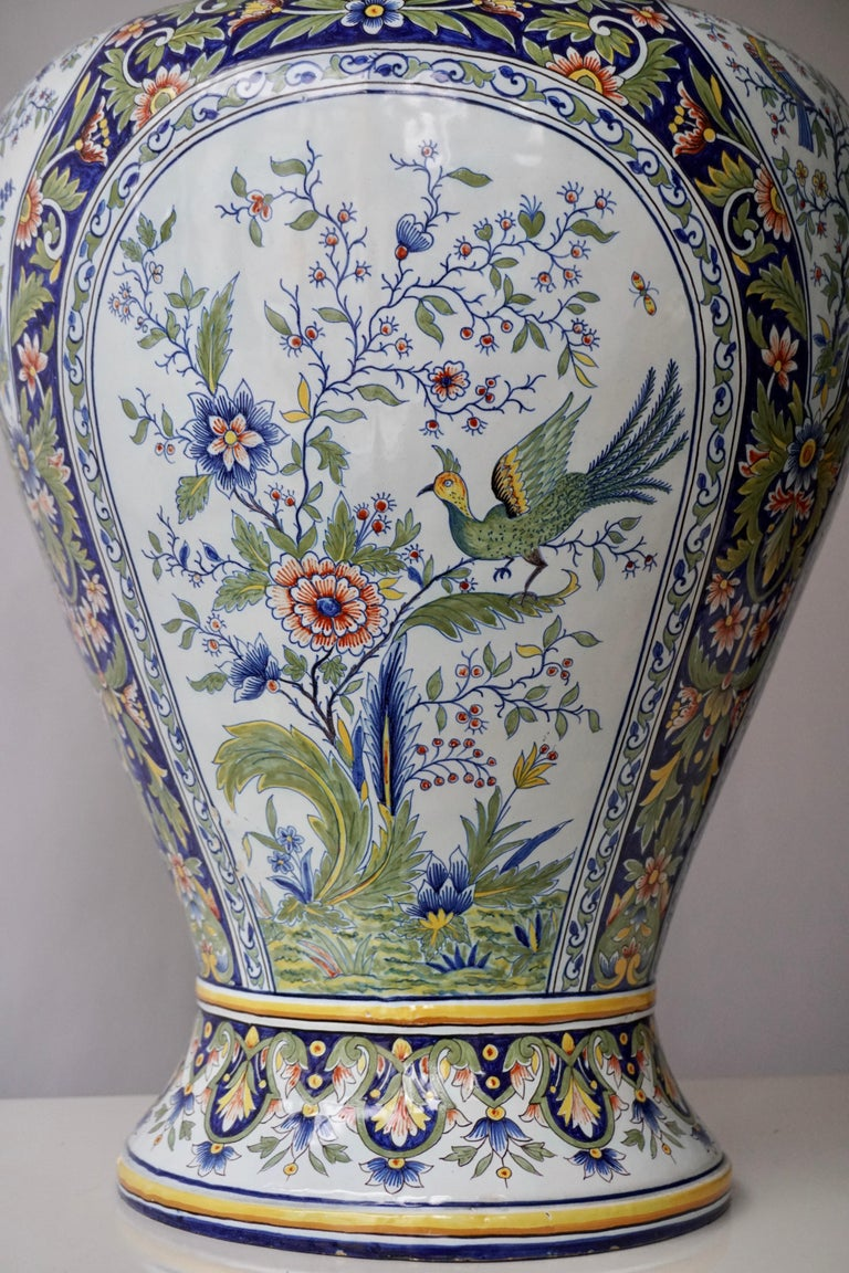 Ceramic French Hand Painted Faience Urn or Vase with Flowers and Birds Motifs For Sale