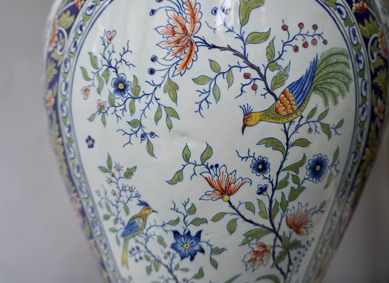 French Hand Painted Faience Urn or Vase with Flowers and Birds Motifs For Sale 1