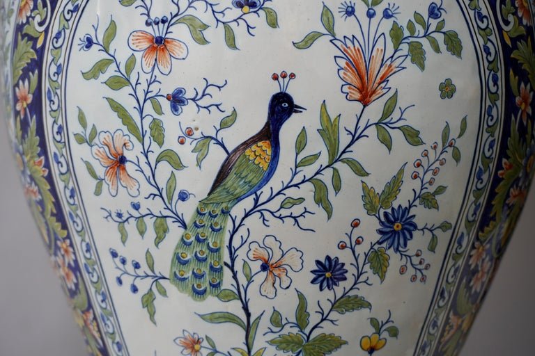 French Hand Painted Faience Urn or Vase with Flowers and Birds Motifs For Sale 2