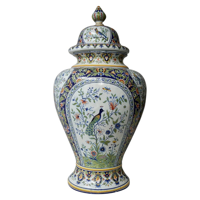 French Hand Painted Faience Urn or Vase with Flowers and Birds Motifs For Sale