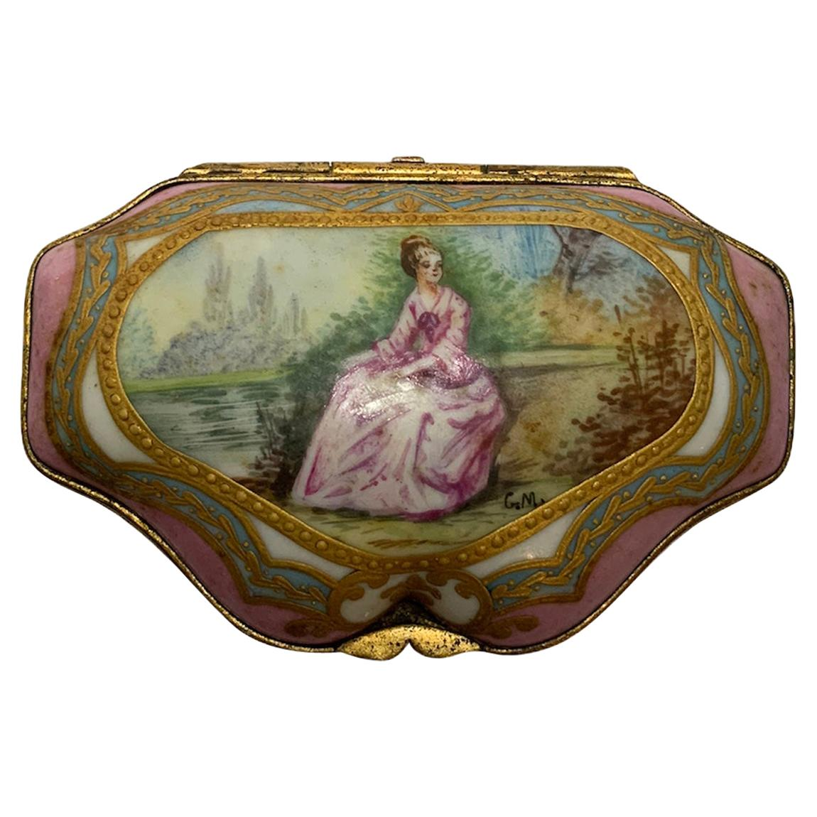 French Hand Painted Porcelain Trinket Box