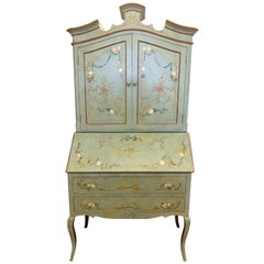 French Hand-Painted Secretary Desk, 20th Century Chinoiserie Cabinet