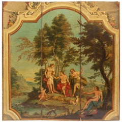 French Hand Painted Three-Panel Screen, 19th Century