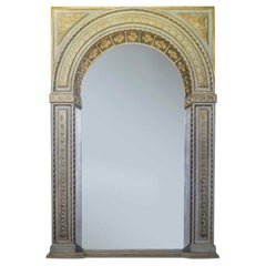 French Hand Painted Trompe L'Oeil Trumeau Mirror