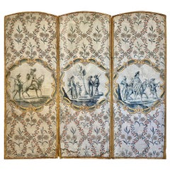 French Hand Painted Wallpaper Screen, 18th Century