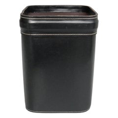French Hand Stitched Black Leather Waste Paper Basket