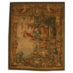 French Hand Woven Tapestry with Cherubs, Mid-20th Century