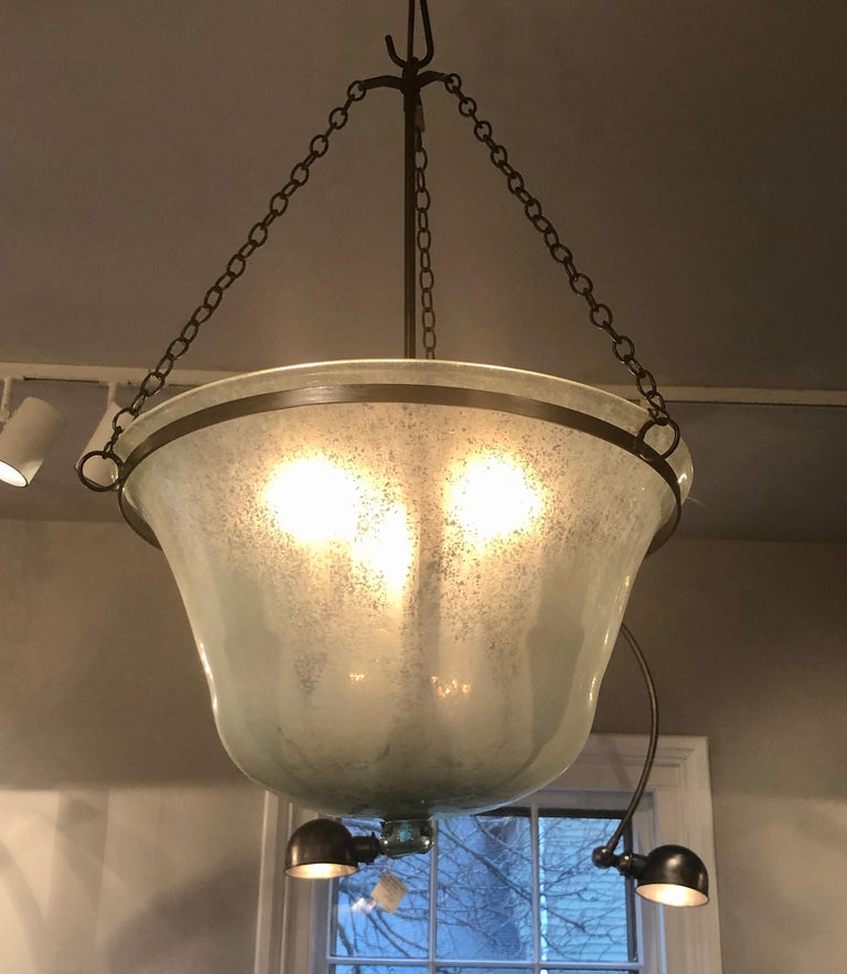 French Hand Blown 19th Century Melon Cloche Hanging Light In Good Condition For Sale In Woodbury, CT