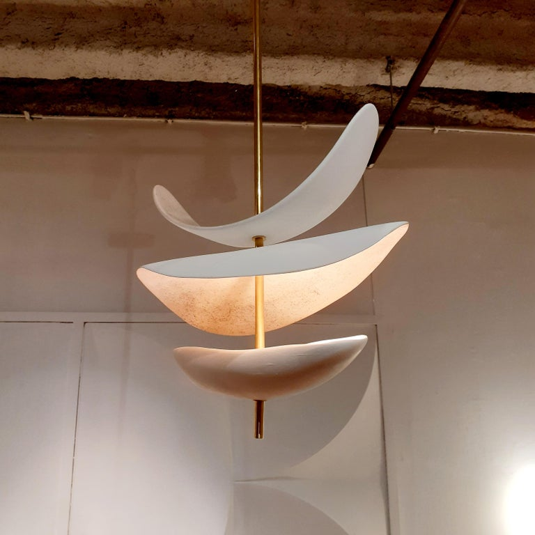 French Handmade Ceramic Ceiling Lamp For Sale 1