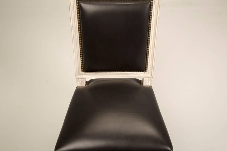 French Handmade Louis XVI Style Armchairs in Black Leather For Sale 7