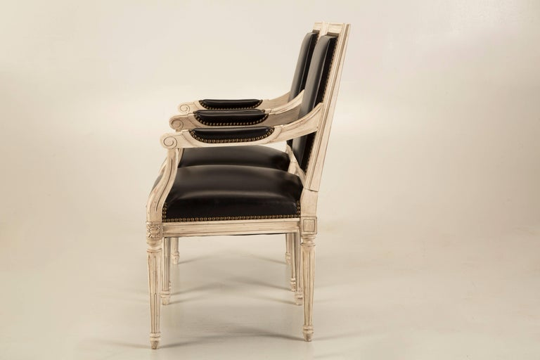 Contemporary French Handmade Louis XVI Style Armchairs in Black Leather For Sale