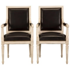 French Handmade Louis XVI Style Armchairs in Black Leather