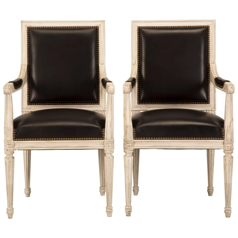 French Handmade Louis XVI Style Armchairs in Black Leather For Sale