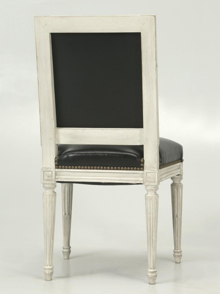 French Handmade, Louis XVI Style Chairs, Aged White/Gray Paint & Black Leather For Sale 7