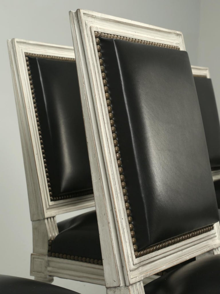 French Handmade, Louis XVI Style Chairs, Aged White/Gray Paint & Black Leather For Sale 1