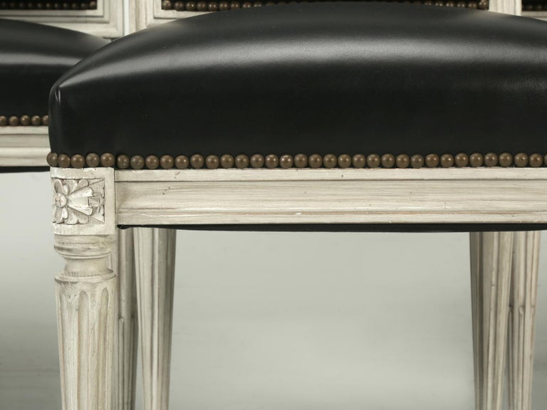 French Handmade, Louis XVI Style Chairs, Aged White/Gray Paint & Black Leather For Sale 2