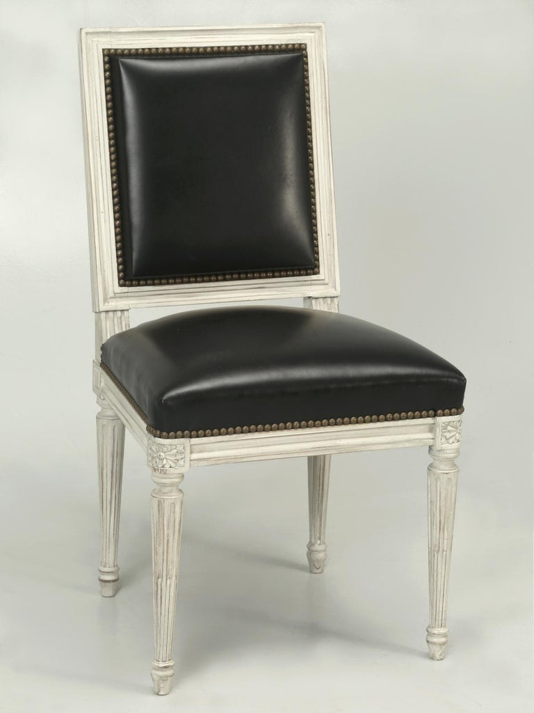 French Handmade, Louis XVI Style Chairs, Aged White/Gray Paint & Black Leather For Sale 5