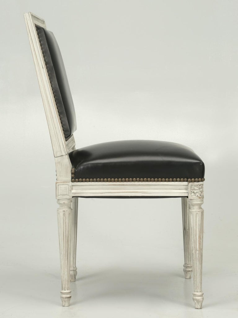 French Handmade, Louis XVI Style Chairs, Aged White/Gray Paint & Black Leather For Sale 6