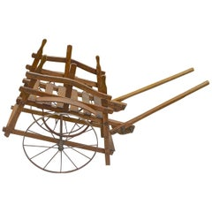 French Handmade Wood Garden Flower and Vegetable Trolly on Two Iron Wheels